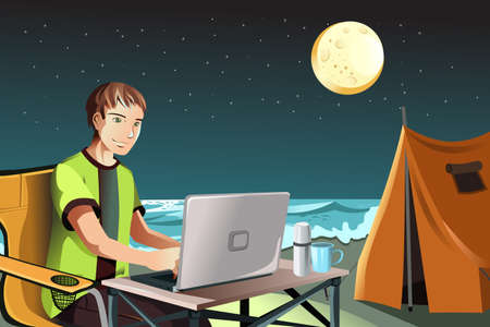 A vector illustration of a man using a laptop while camping on the beach Ilustração