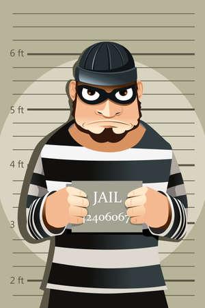 A vector illustration of a criminal mug shot