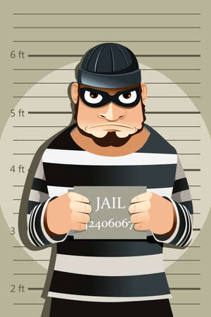 prisoner man: A vector illustration of a criminal mug shot