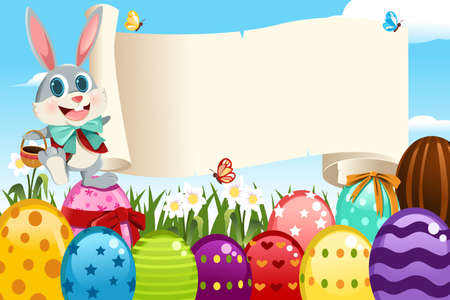 A vector illustration of an Easter bunny holding a blank sign surrounded by Easter eggs Ilustracja