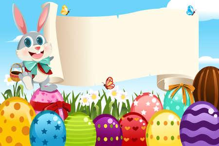 Una ilustración vectorial de un conejito de Pascua con un cartel en blanco rodeado de huevos de Pascua Foto de archivo - 11764890