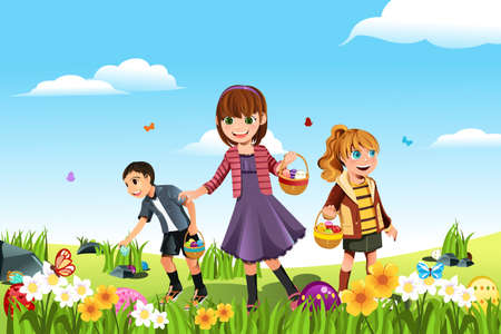 A vector illustration of kids celebrating Easter by going on an Easter egg hunt
