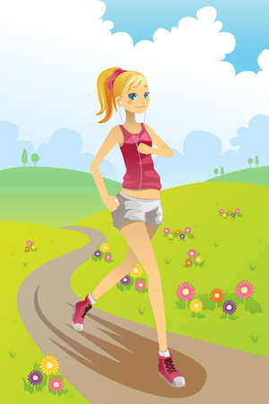 jogging park: A vector illustration of a girl running in a park