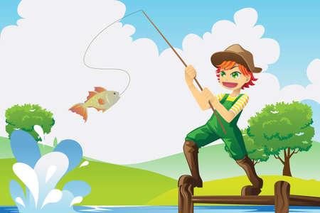 hengelsport: Een vector illustratie van een jongen te gaan vissen Stock Illustratie