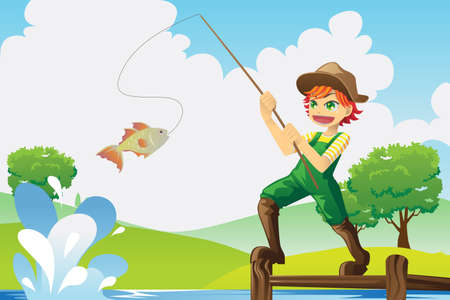 pesca: Una ilustraci�n vectorial de un ni�o a pescar