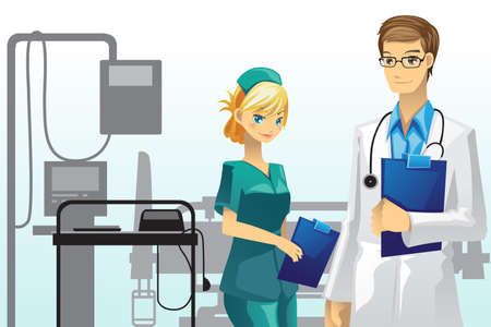 healthcare workers: A vector illustration of a doctor and a nurse in the hospital