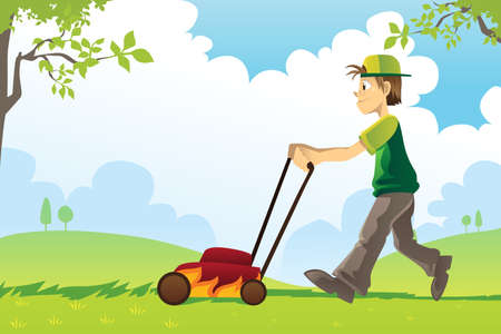 yard work: A vector illustration of a man mowing the lawn