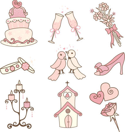 A vector illustration of a set of wedding icons