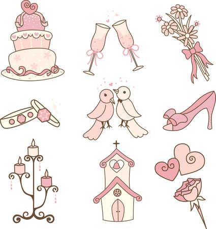 Een vector illustratie van een set van de bruiloft iconen