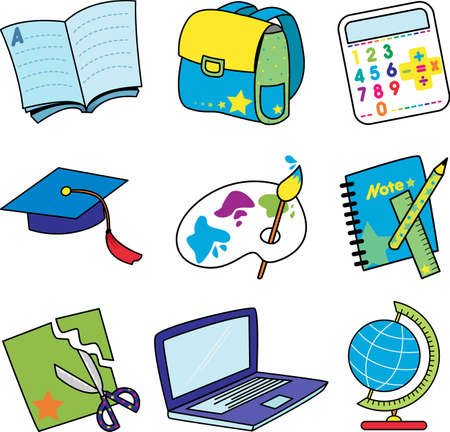 A vector illustration of a set of education icons