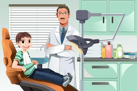dientes caricatura: Una ilustración vectorial de un niño en el consultorio del dentista