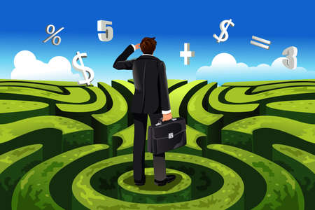 A vector illustration of a businessman in maze facing a financial decision Ilustração