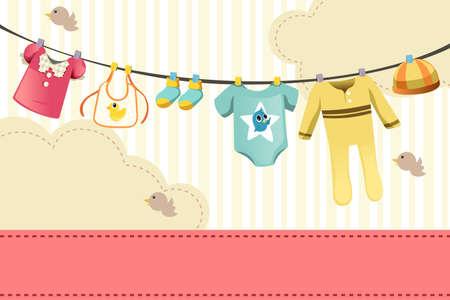 laundry line: Una ilustraci�n vectorial de ropas para beb�s en la pinza de la ropa Vectores