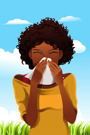 A vector illustration of a woman sneezing into a tissue outdoor  イラスト・ベクター素材
