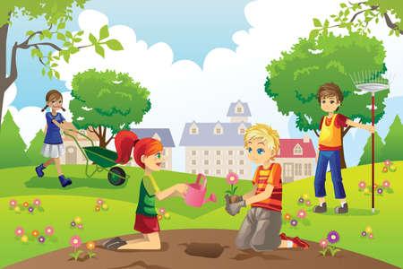 A vector illustration of kids gardening outside