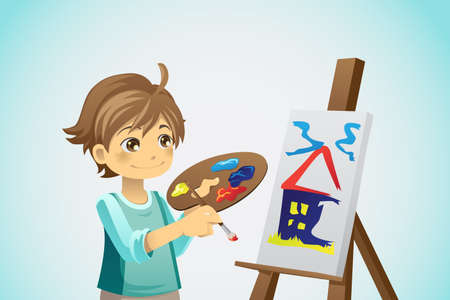 A vector illustration of a kid painting on a canvas Çizim