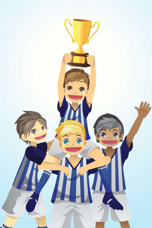 A vector illustration of a group of sporty kids lifting up trophy Vector