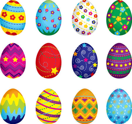 isolated on a white background: A vector illustration of colorful Easter eggs
