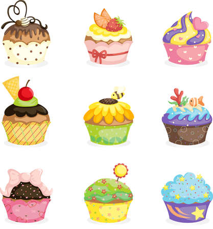 A vector illustration of different cupcakes designs 일러스트