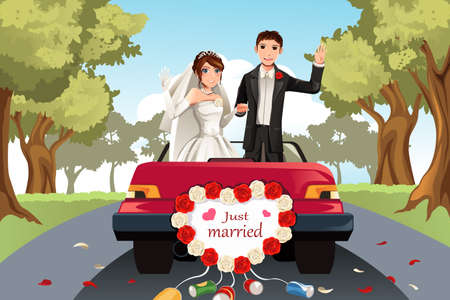 A vector illustration of a married couple going away in a car