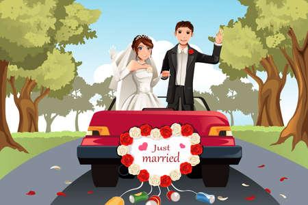 pareja de esposos: Una ilustraci�n vectorial de una pareja casada que va en un coche Vectores