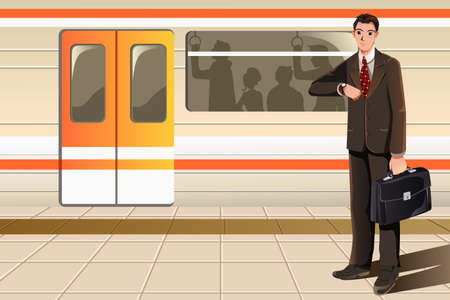 train cartoon: A vector illustration of a businessman waiting for subway