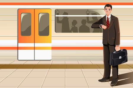 estacion de tren: Una ilustración vectorial de un hombre de negocios de espera para el metro