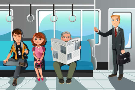 train cartoon: A vector illustration of people riding on the train