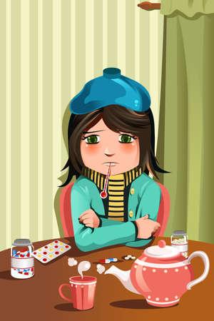 gripe: Una ilustración vectorial de una niña enferma