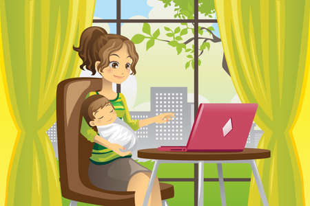 A vector illustration of a mother working on a laptop while holding a baby Vectores