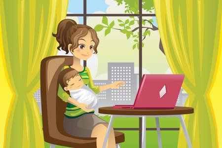 madre e hijo: Una ilustraci�n vectorial de una madre que trabaja en un ordenador port�til, mientras que con un beb�