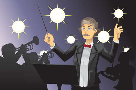 instruct: A vector illustration of an orchestra conductor