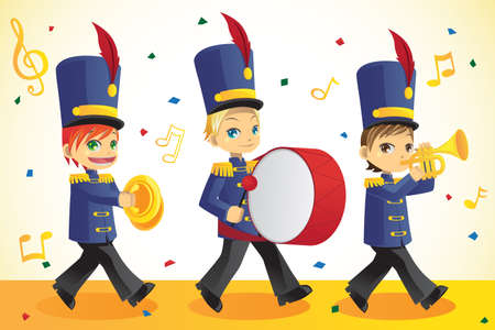 parade: A vector illustration of kids in a marching band