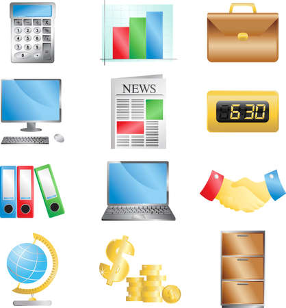 A vector illustration of business office icons