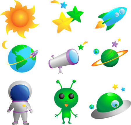 Een vector illustratie van leuke astronomie iconen Stock Illustratie
