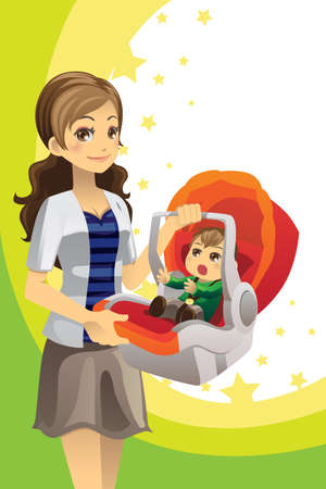A vector illustration of a mother carrying her baby in a car seat