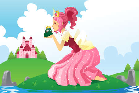 A vector illustration of a fairy tale of a princess kissing a frog