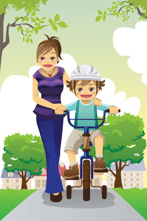 A vector illustration of a mother teaching her son how to ride a bike