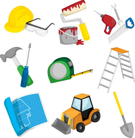 A vector illustration of a collection of construction icons Çizim