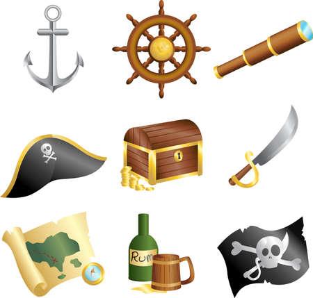 Een vector illustratie van een verzameling van piraten iconen