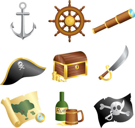 treasure chest: Una ilustraci�n vectorial de una colecci�n de iconos de los piratas