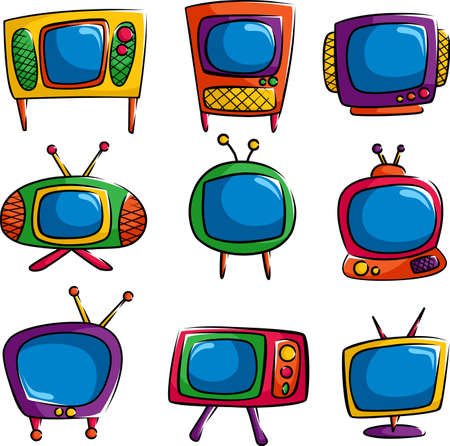 A vector illustration of a set of colorful televisions