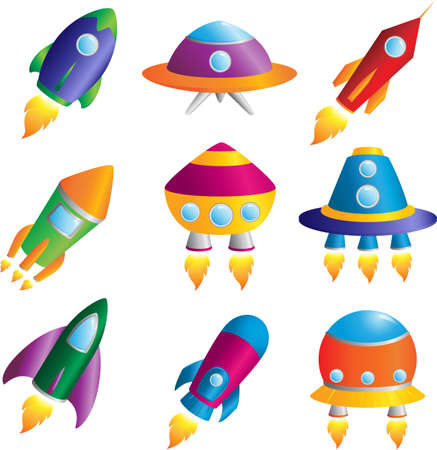 A vector illustration of a collection of colorful rockets icons
