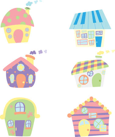 A vector illustration of cute houses icons Stock Vector - 11864849
