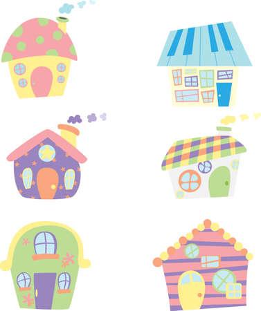 case colorate: Una illustrazione vettoriale di cute icone case