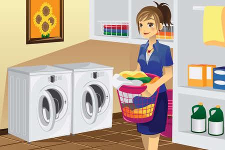 chores: Een vector illustratie van een huisvrouw de was doen in het washok Stock Illustratie