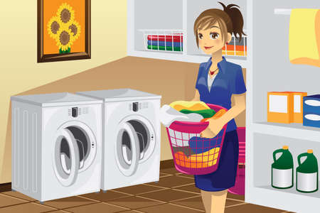 ama de casa: Una ilustración vectorial de un ama de casa haciendo ropa en el lavadero