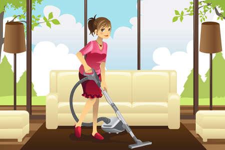 domestic chore: Una ilustraci�n vectorial de un ama de casa de aspirar la alfombra de la sala de estar