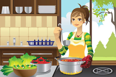 stove: A vector illustration of a housewife cooking in the kitchen