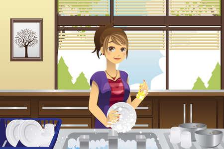 chores: Een vector illustratie van een huisvrouw afwas in de keuken